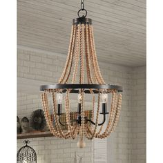 Shop for Mindy 3 Light Wood Bead Chandelier - Gold Bronze. Get free delivery at Overstock - Your Online Ceiling Lighting Store! Get in rewards with Club O! Wood Bead Chandelier, Chandelier Lighting, Chandeliers, Modern Chandelier, Idee Diy, Light Bulb Types, Home Lighting, Lighting Ideas, Bathroom Lighting