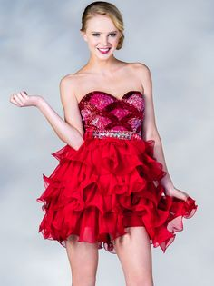 Red Sweetheart Short Prom Dress. Style #: C11894. Get yours today at www.SungBoutiqueLA.com