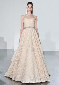 A champagne colored wedding dress by Romona Keveza (fall 2014 shows an elegant floral design. I think color is more of a pink champagne, but then I have a strong preference for pink. Champagne Colored Wedding Dresses, Pink Wedding Dresses, Wedding Dress Styles, Bridal Dresses, Bridesmaid Dresses, Wedding Gowns, Grad Dresses, Pink Champagne, Romona Keveza Wedding Dresses
