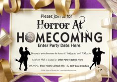 Download an emailable invitation for Horror at Homecoming Murder mystery party Mystery Dinner Party, Mystery Parties, November Birthday Party, Birthday Parties, Rsvp, Homecoming, Horror, Party Ideas, Invitations