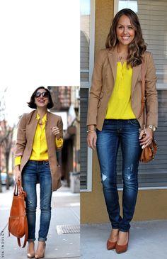yellow top, camel jacket, jeans, cognac shoes