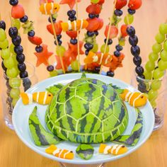 Coral Reef Fruit Platter Total Time 30m Prep Time 30m Cook Time 0m Help your kids to create a tasty Finding Dory inspired fruit platter, starring a fruit-tastic turtle like Crush and clownfish like Nemo and Marlin.  This recipe is sure to be a crowd-pleaser at any underwater themed party or summer gathering.  What You'll Need Watermelon Dried apricots Greek yogurt Raisins Red and green grapes Blueberries Strawberries Kiwi Skewers