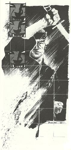 colsmi: Frank Miller's Ronin. as portrayed by a young Dave McKean & printed in Arken Sword Comic Book Artists, Comic Artist, Frank Miller Art, Dave Mckean, Character Inspiration, Sword, Fan Art, Graphic Design, Graphic Novels