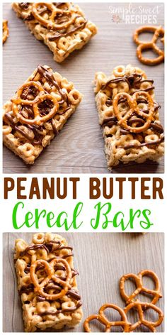 Homemade, no-bake, so easy cereal bars! These are loaded with cheerios, marshmallow, and peanut butter and topped with chocolate and pretzels. The perfect combination of sweet and salty with lots of protein to keep you feeling full longer. A fun breakfast on the go option or after school snack / treat. #cereal #breakfastbars #cerealbars #cheerios #pretzelbars #dessert #snacks #afterschoolsnacks #marshmallows #chocolate via @simplesweetrecipes