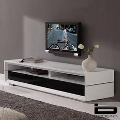 B-Modern Executive Remix White TV Stand