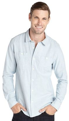 $50, Light Blue Chambray Long Sleeve Shirt: Blue Cotton Chambray Button Front Shirt by Just A Cheap Shirt. Sold by Bluefly. Click for more info: http://lookastic.com/men/shop_items/212199/redirect