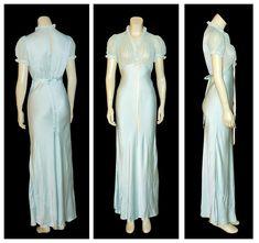 2cd06c9e541a Vintage SHEER 1930's CHIFFON & Satin Lace BIAS CUT Slip Maxi Gown Dress
