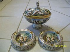 Vintage R Capodimonte Humidor Ashtrays Compote Italy Cherubs Lidded Bowl Marked #Capodimonte