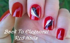 Elegant red #nailart with black & white feather design - For more easy #nail ideas please subscribe to my YouTube channel: https://www.youtube.com/user/LifeWorldWomen