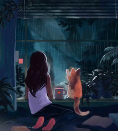 https://www.facebook.com/TheEarthwithoutARTisjusteEH/ #ART #GIF #girl #dog #painting #cuteness #rain #tea #coffee #book