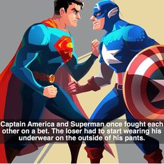 Notice how Super man isn't wearing the red underwear looking part of his super suit at the moment mean Captain won. XD