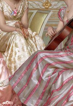 """Vittorio Reggianini (Italian,1858-1938) """"La soirée"""" detail II."""