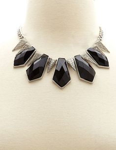 Stones & Spikes Statement Necklace: Charlotte Russe