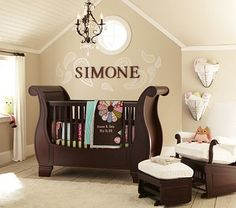 Simone baby bedding from Pottery Barn ... LOVE the neutrals of this room and the pops of color in bedding!