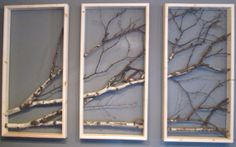 Birch Branch Triptych Wall Hanging by MadeAtTheLake on Etsy, $255.00