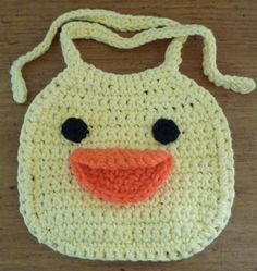 Crochet Baby Bib Yellow Duck Made To Order by hmjeane