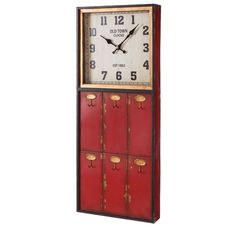 Reloj de Pared Percha en Metal Rojo Vintage 8 x 30 x 75 cm