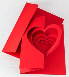 Helical Heart Pop Up Card - Popup Card Shop <br> A deep red spiraling heart pop up card makes the perfect elegant Valentine for your beloved! Handmade by Andrew Crawford. Pop Out Cards, 3d Cards, Gift Cards, Heart Pop Up Card, Heart Cards, Pop Up Valentine Cards, Valentine Heart, Pop Up Card Templates, Business Templates