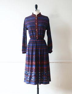 Vintage Dress Japanese Dress 70s Dress Midnight by StandardVintage, $64.00