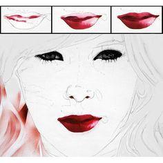 Eyes and lips process shots