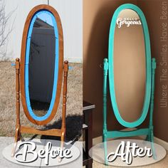 hello gorgeous mirror makeover with chalk paint etched glass vinyl, chalk paint, painted furniture Wall Mirrors Long, Cheap Mirrors, Old Mirrors, Mirror With Lights, Mirror Makeover, Diy Mirror, Oval Mirror, Mirror Ideas, Furniture Makeover