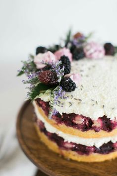 Blackberry Upside Down Cake with Lavender Swiss Meringue Buttercream | TheSchoolOfStyling