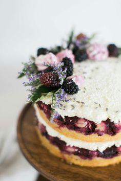 Blackberry Upside Down Cake with Lavender Swiss Meringue Buttercream | TheSchoolOfStyling