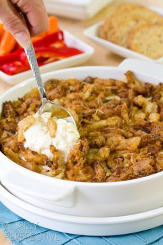 Cheesy Onion Dip with French Fried Onions ~~~  Be prepared for the Holiday Dinners, Parties and Family Gatherings.  When hosting, serving 3 appetizers should cover it...serve something Hot, Cold and Healthy.  This one is served hot...and it's soooo good!