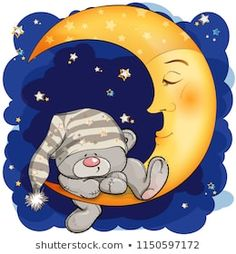 A Teddy bear went to sleep on the moon. Good Night Messages, Cute Messages, Tatty Teddy, Cute Cartoon Drawings, Animal Drawings, Baby Elephant Drawing, Dibujos Baby Shower, Good Night Sweetheart, Teddy Pictures