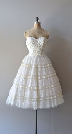 vintage 50s wedding dress / strapless 50s dress / by DearGolden, $525.00