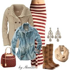 """Maxi skirt, cable knit sweater, and boots for Fall""  This is going to be my outfit for the fall! <3"