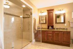 Custom designed vanity and shower.