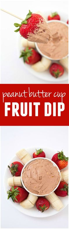 This Peanut Butter Cup Fruit Dip is like dipping your fruit in a peanut butter cup!! IT IS AMAZING!