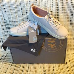H&M Genuine (White) Leather Sneakers   sz 6 NIB/NWT   BRAND NEW   NEVER WORN: Genuine Leather, All White Sneaker from H&M's Online Only Premium Leather Collection (Dust bag included) H&M Shoes Sneakers