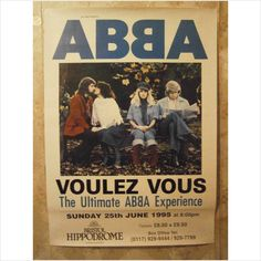 ABBA - Voulez-Vous Tour Poster Park Bench Picture. Take A Chance On Me, SOS