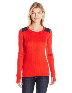 Jones New York Women's Fitted Sweater with Faux Suede, Lipstick, X-Large Red Sweaters, Pullover Sweaters, Sweaters For Women, Ribbed Top, Cool Things To Buy, Stuff To Buy, Classy, York, Fitness