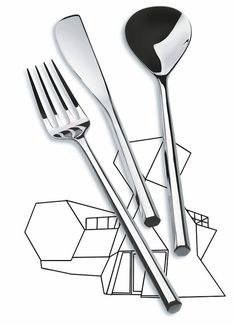 Mu, the flatware line designed by the Japanese architect Toyo Ito.  Distinguished by a hexagon-shaped handle inspired by the shape of chopsticks, Mu (hexagon, in Japanese) complements Ku, the porcelain table service he created for Alessi in 2006.