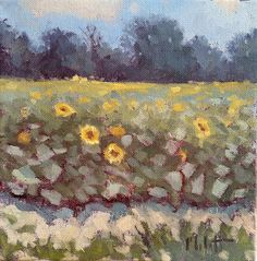 Heidi Malott Original Paintings: Sunflower Field Painting Original Artwork Midwest ...