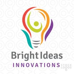 Clean, modern and stylized logo design of a light bulb with an abstract figure contained within the design.