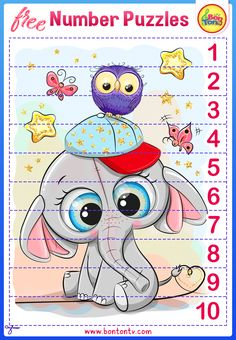 Number Puzzles - FREE Preschool Printables for Kids - Learning Numbers, Counting 1-10 - Fun Math Activities and Worksheets for Homeschooling, Kindergarten and Grade 1 - by BonTon TV #numbers #preschool #printables #worksheets #bontontv