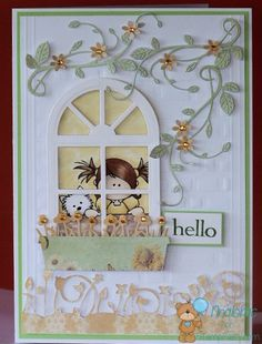 window scene card - Stampfairy.com digi Mimi Dog - Tonic Studios Window Frame & Window Basket dies from The Papercrafts Boutique Elgin - bjl
