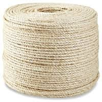 Twisted Sisal Rope - x Sisal Twine, Sisal Rope, 3 Strand Twist, Shipping Supplies, Poly Bags, Tissue Holders, Yard, Natural, Building