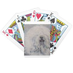 Beautiful winter Old English SheepDog Painting Bicycle Playing Cards - artists unique special customize presents