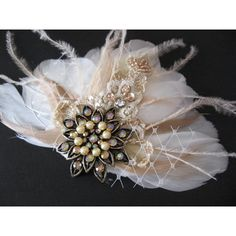 Lace Feather vintage fascinator, Bridal fascinator, Wedding head piece beige tan champagne Ivory rhinestone tulle netting ($64) found on Polyvore