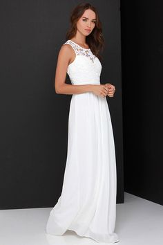 So Far Gown Ivory Lace Maxi Dress at Lulus.com!