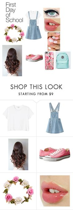 """""""First Day of School"""" by yoitsdd on Polyvore featuring Monki, WithChic, Converse and Casetify"""