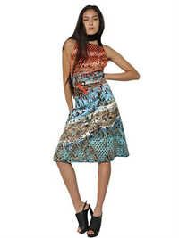 Studded And Printed Silk Duchesse Dress