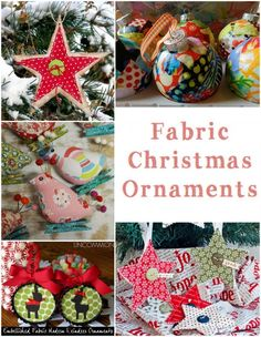 Fabric Christmas Ornaments - need a last minute decoration or gift embellishment? | | http://fabricshopperonline.com/last-minute-fabric-ornaments-tutorials/