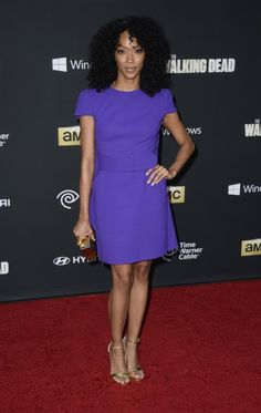 Premiere Of AMC's The Walking Dead - Sonequa Martin-Green almost didn't recognize her Walking Dead Season 4, Walking Dead Tv Series, The Walking Dead Tv, Sonequa Martin Green, Fall Tv, Celebrity Crush, Red Carpet, Beautiful Women, Dresses For Work