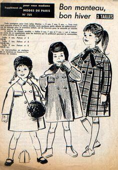 Manteau, double boutonnage, rabats de poches sur la poitrine, col classique ou en fausse fourrure, grand pli creux au dos. Tailles 5 ans, 7 ans  et 9 ans.   Patron à décalquer - 7685202